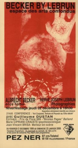 Becker by Lebrun — Pezner — Exposition photographique Albrecht Becker — Hervé Joseph Lebrun — Concept expo Marie-Claire Cordat — Avec Guillaume Dustan