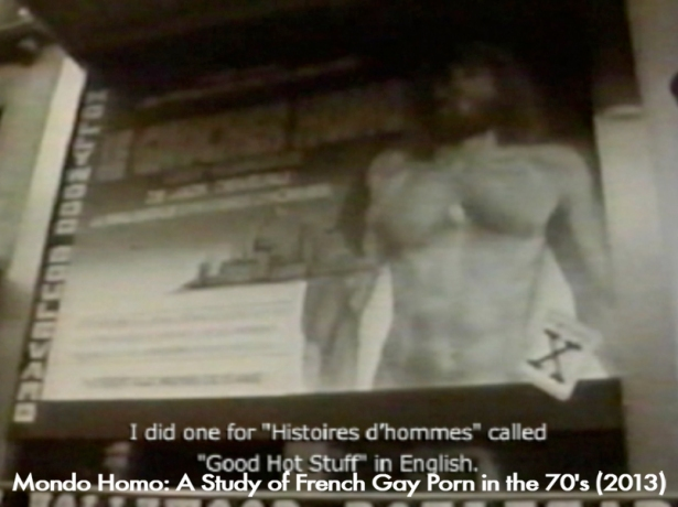 Grande toile peinte du Gaucher homo, en 1976, sur la façade du Hollywood Boulevard, 4 boulevard Montmartre, cinema crée par René Chateau (Mondo Homo: A Study of French Gay Porn in the 70's)