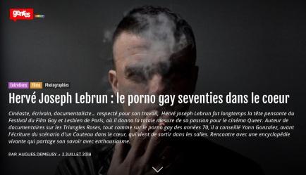 Hervé Joseph Lebrun © Photo Hervé Lassïnce Genre 2 juillet 2018, Hugues Demeusy : http://genres.centrelgbtparis.org/2018/07/02/herve-joseph-lebrun-le-porno-gay-seventies-dans-le-coeur/